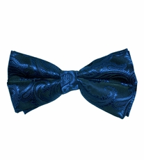 Metal Blue and Black Paisley Bow Tie . Pretied or Self-Tie (BT20-J)