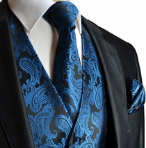 Metallic Blue Paisley Men's Vest Set  (Q20-J)