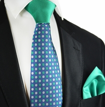 Methyl Blue and Green Contrast Knot Tie and Pocket Square