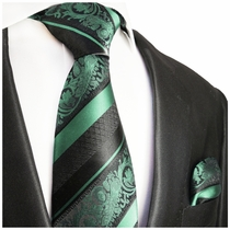Mint and Black Silk Tie and Pocket Square by Paul Malone Red Line