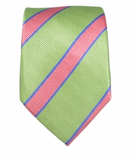 Mint and Pink Slim Silk Tie by Paul Malone