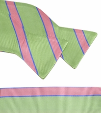 Mint Grren and Pink Bow Tie and Pocket Square Set . 100% Silk (BT844H)