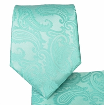 Mint Paisley Necktie and Pocket Square Set (Q600-HH)