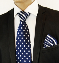 Navy a. White Contrast Knot Silk Tie Set by Steven Land