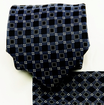 Navy and Black Necktie and Pocket Square Set (Q580-B)