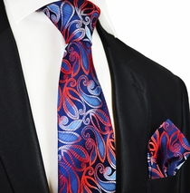 Navy and Fire Red Paul Malone Silk Tie Set