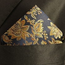 Navy and Gold Mens Silk Pocket Square (H683)