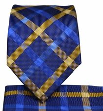 Navy and Gold Necktie and Pocket Square Set