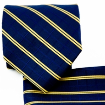 Navy and Gold Necktie and Pocket Square (Q578-H)