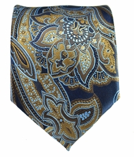 Navy and Gold Paisley Men's Tie
