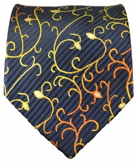Navy and Gold Paul Malone Silk Tie (534)