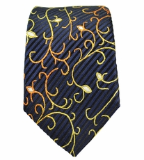 Navy and Gold Slim Silk Tie by Paul Malone
