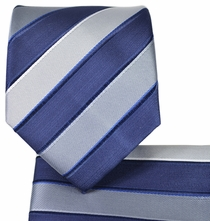 Navy and Grey Striped Tie and Pocket Square