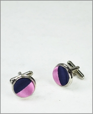 Navy and Pink Silk Cufflink Set (C453)