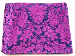 Navy and Purple Mens Silk Pocket Square (H688)