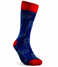 Navy and Red Cotton Men's Socks by Paul Malone