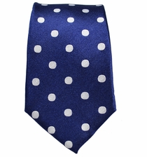 Navy and Silver Slim Silk Necktie by Paul Malone