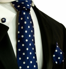 Navy and White Polka Dots . Necktie Set by Paul Malone (569CH)
