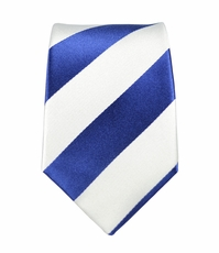 Navy and White Slim Silk Tie by Paul Malone (Slim405)