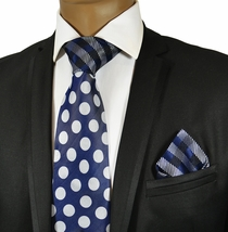 Navy and White Steven Land Silk Tie and Pocket Square