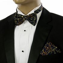 Navy Blue and Gold Bow Tie and Pocket Square Set by Paul Malone (BT534H)