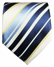 Navy, Blue and White Paul Malone Silk Necktie (924)
