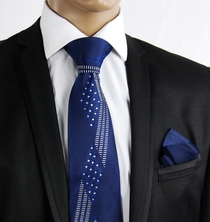 Navy Blue Crystal Silk Tie Set by Steven Land (C61-4)