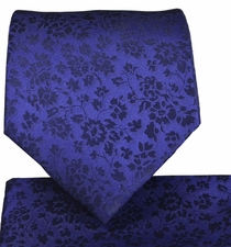 Navy Blue Necktie and Pocket Square Set