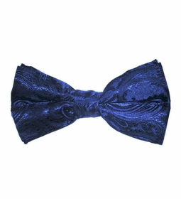 Navy Blue Paisley Bow Tie . Pretied or Self-tie (BT20-E)