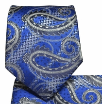 Navy Blue Paisley Necktie and Pocket Square Set