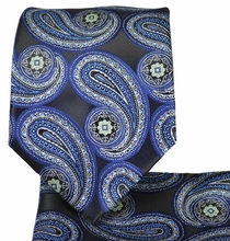 Navy Blue Paisley Tie and Pocket Square Set