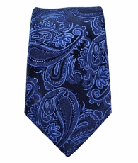 Navy Paisley Slim Necktie by Paul Malone . 100% Silk