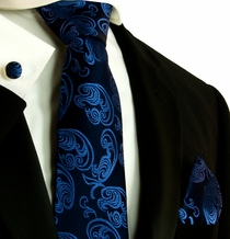 Navy Patterned Silk Necktie Set by Paul Malone (594CH)