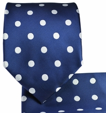 Navy & Silver Polka Dots, Necktie & Pocket Square