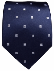 Navy & White Paul Malone Silk Tie (523)