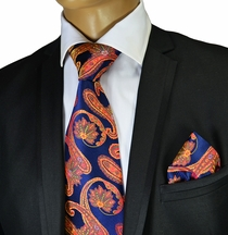 Necktie and Pocket Square by Verse 9 . Big Knot . 100% Silk