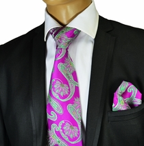 Necktie and Pocket Square by Verse 9 .Big Knot . 100% Silk