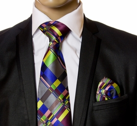 Necktie and Pocket Square by Verse9 . 100% Silk . Big Knot