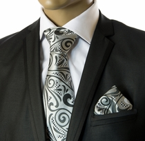 Necktie and Pocket Square by Verse9 . Big Knot. 100% Silk