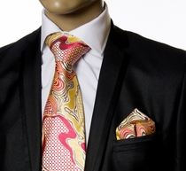 Necktie and Pocket Square by Verse9 . Big Knot .100% Silk