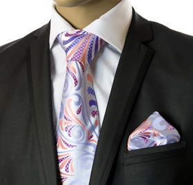 Necktie and Pocket Square by Verse9 . Big Knot . 100% Silk
