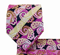 Necktie and Pocket Square . Hot Pink Paisleys (Q539-G)