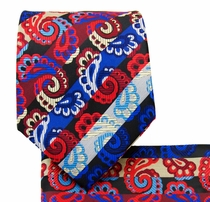 Necktie and Pocket Square . Red Paisleys (Q539-F)