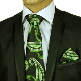 Necktie and Pocket Square Set . 100% Silk . Big Knot