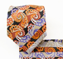 Necktie and Pocket Square Set . Orange Paisleys (Q539-B)