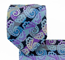 Necktie and Pocket Square Set . Purple Paisleys (Q539-A)