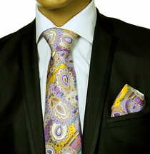 Necktie and Pocket Square vy Verse9 . Big Knot . 100% Silk
