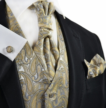 New Wheat and Grey Paisley Tuxedo Vest Set