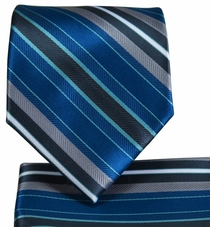 Ocean Blue Striped Necktie and Pocket Square