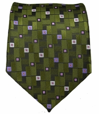 Olive and Purple Patterned Mens Tie